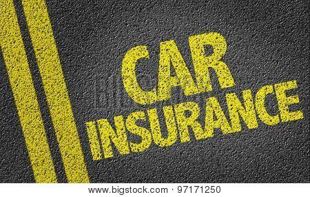 Car Insurance written on the road