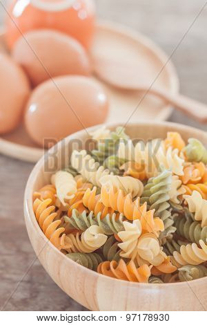 Fusili Pasta In Wooden Plate With Eggs