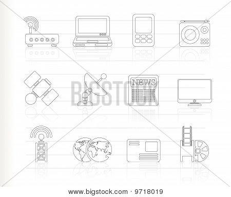 Negocios, los iconos de comunicación de tecnología