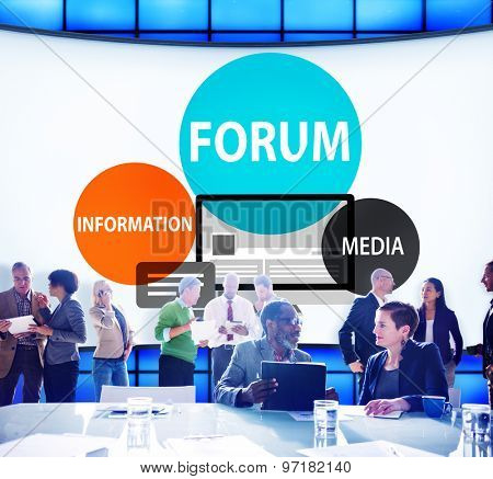 Forum Global Communication Connection Topic Concept poster