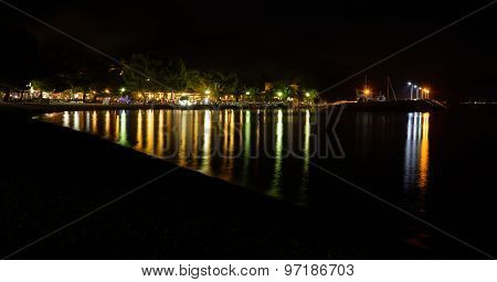 Night Time View On Marina Blato, Zivogosce, Croatia