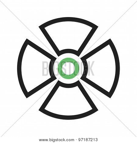 Radiation, radioactive, radio therapy icon vector image. Can also be used for healthcare and medical. Suitable for mobile apps, web apps and print media. poster