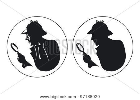 Detective vector silhouette