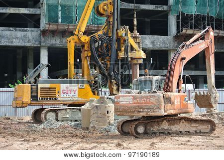 Bore Pile Rig at construction site