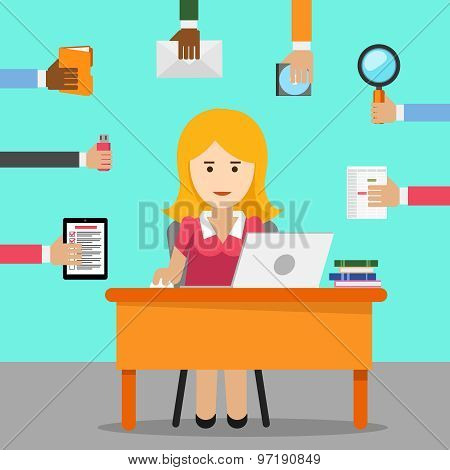 Secretary. Busy woman for office work