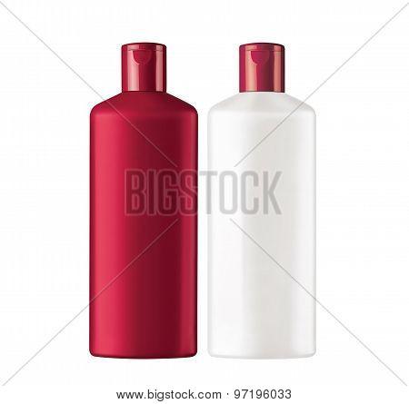Plastic bottles shampoo isolated on white background poster