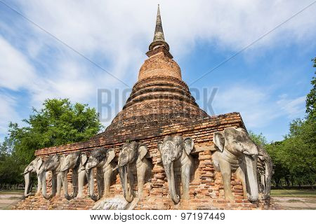 Sukothai historical park, Unesco world heritage. Chang Rop Temple ,Thailand