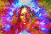 mystic face women with butterflies, color background collage. eye contact poster
