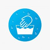 Water drops on button. Hand wash sign icon. Not machine washable symbol. Realistic pure raindrops. Blue circle. Vector poster