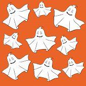 Illustration of ghosts smiling on orange background. poster