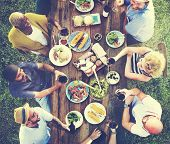 Friends Friendship Outdoor Dining People Concept poster
