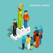 Business award winners. Successful business people with cups, 3d isometric. Victory champion, winner and first man, businessman reward, win competition, vector illustration poster