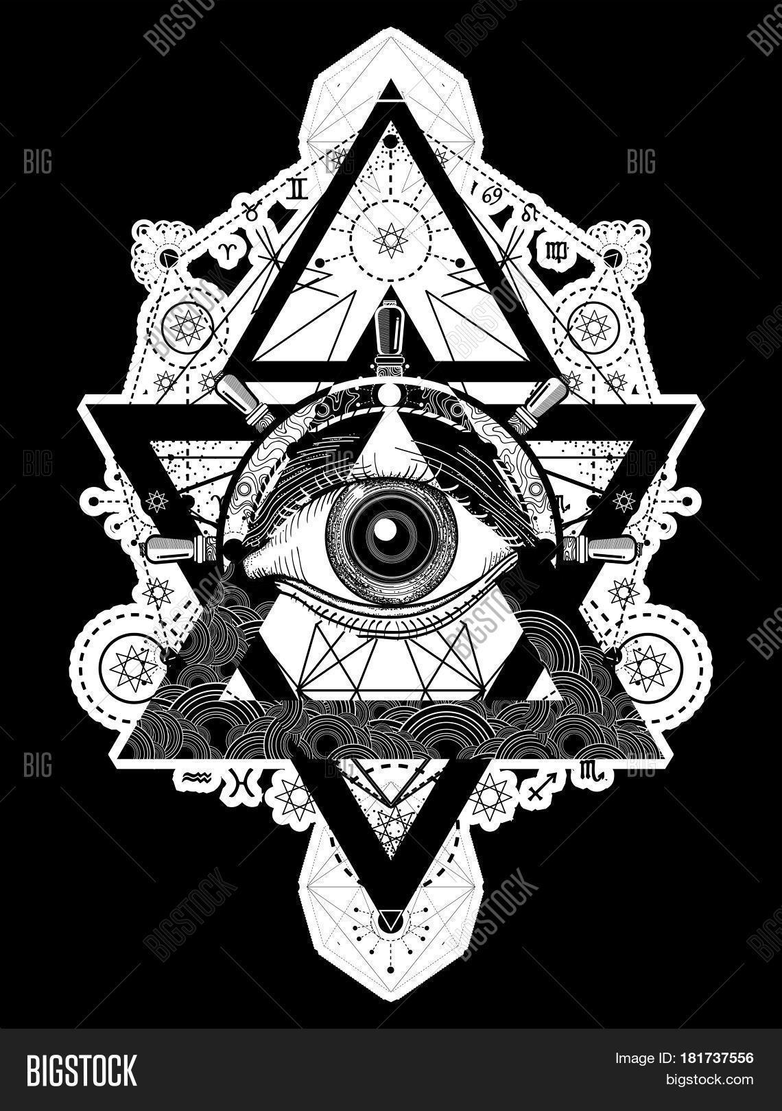 All Seeing Eye Tattoo Art Vector Freemason And Spiritual Symbols Alchemy Medieval Religion Occultism