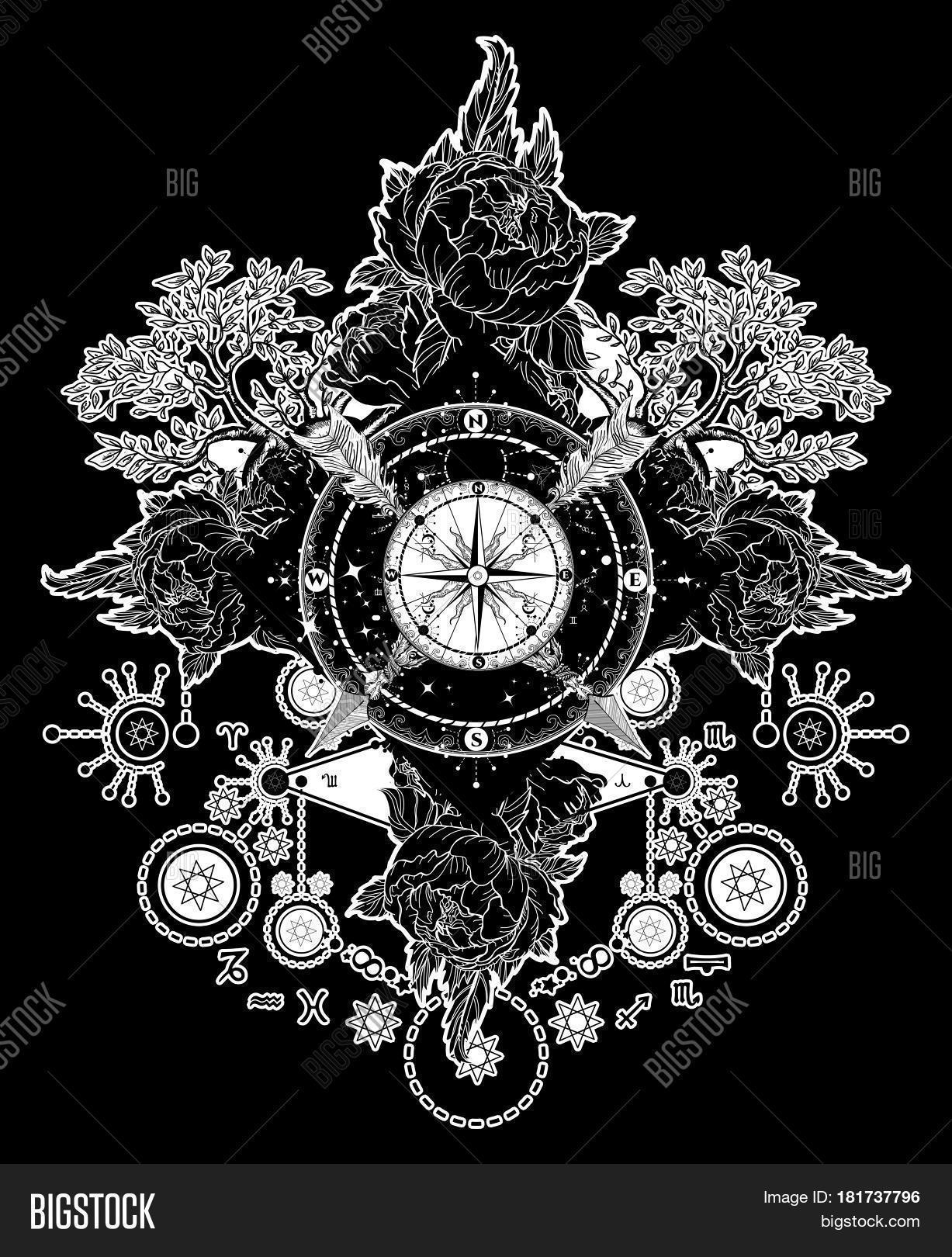 Tattoo Art Compass Vector Photo Free Trial Bigstock