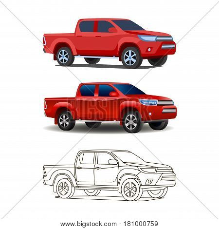 Pickup Truck Set Outline And Realistic Colored Vector Illustration