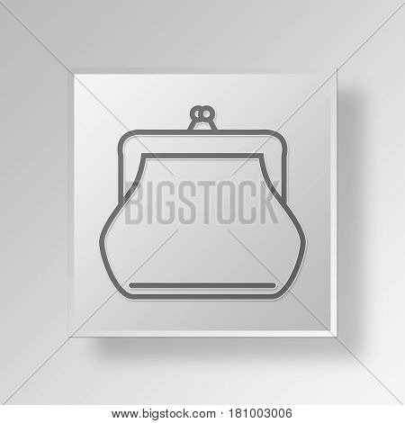 Gray Square coin purse Symbol icon Concept