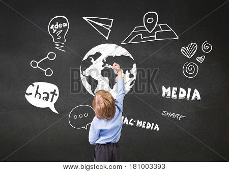 Digital composite of Boy drawing earth with graphic about internet