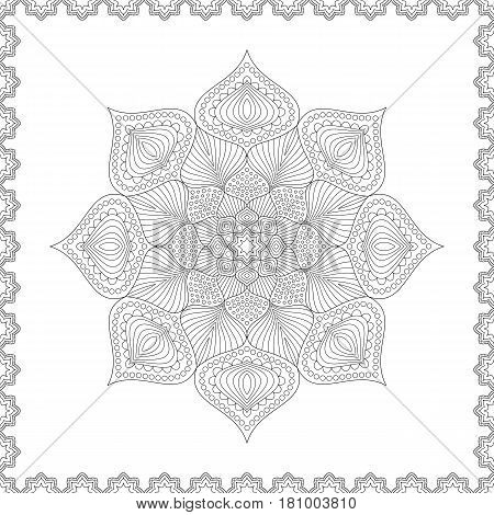 Uncolored Patterned Outline Mandala. Design of Page for Coloring Book. Monochrome Oriental Circular Striped Pattern.