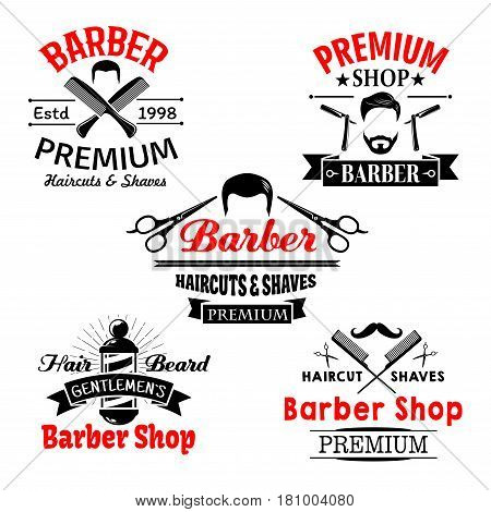 Barber shop vector icons. Symbols of man beards and mustaches and scissors for premium hairdresser coiffeur or hipster trend haircutter. Shaving razor and hairbrush comb for barbershop salon or studio