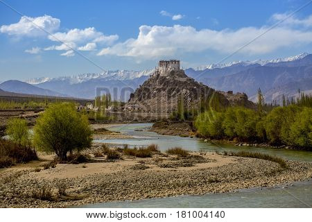 Stakna Monastery With View Of Himalayan Mountains In Leh-ladakh,india