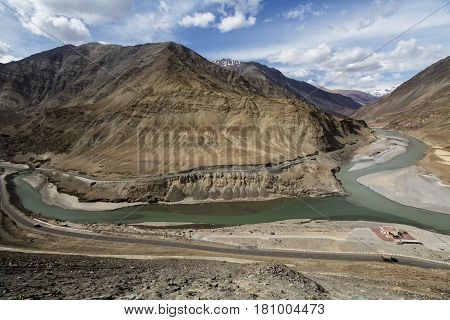 Confluence Of The Indus And Zanskar Rivers Are Two Different Colors Of Water , Between Kargil And Le