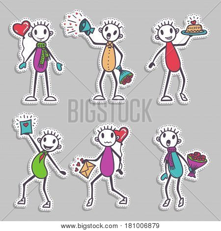 Stick figure in love- paper stickers - Valentine's Day collection, vector holiday set