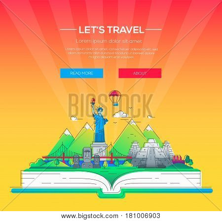 Lets travel - modern vector line travel illustration. Discover the New World continent. Have a trip, enjoy your vacation. Be on a journey. Landmarks on a book - stature of liberty, brooklyn bridge, mayan temple