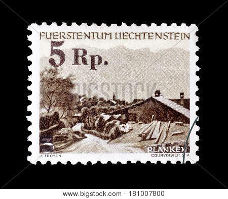 LIECHTENSTEIN - CIRCA 1944 : Cancelled postage stamp printed by Liechtenstein, that shows Planken.