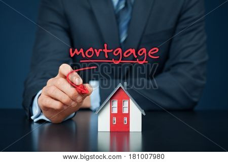 Mortgage concept. Financial agent with model of the house and text mortgage.