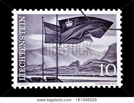 LIECHTENSTEIN - CIRCA 1959 : Cancelled postage stamp printed by Liechtenstein, that shows Flags in front of the Rhine valley.