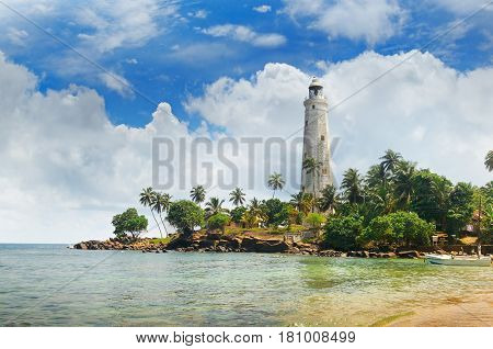 lighthouse lagoon and tropical palms (Matara Sri Lanka)