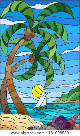 Illustration in stained glass style with a tropical sea landscape coconut trees and shells on the sandy beach a sailboat with a white sail in the distance on the background of Sunny sky and clouds