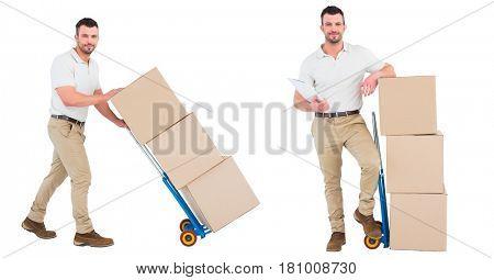 Digital composite of courier men with the wheelbarrow