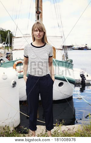 Maritime Striped t-shirt girl in harbor portrait