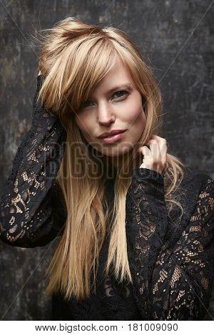 Glamorous fashion woman in lace top portrait