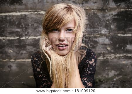 Stunning blond woman with blue eyes portrait