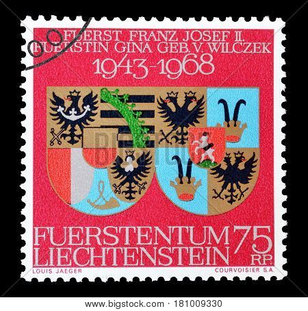 LIECHTENSTEIN - CIRCA 1968 : Cancelled postage stamp printed by Liechtenstein, that shows Coat of arms.