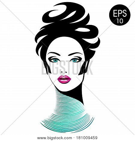 Vector Woman with chic lips and long neck. Beauty Girl Portrait for your design