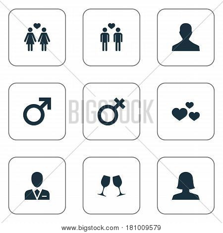 Vector Illustration Set Of Simple Couple Icons. Elements Male, Wineglass, Barrister And Other Synonyms Spouse, Male And Woman.