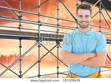 Digital composite of Happy men in front of 3D scaffolding with city background