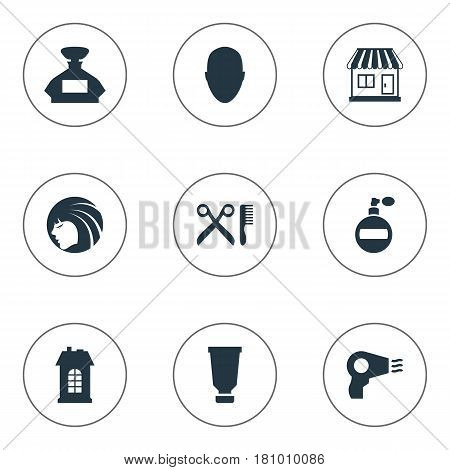 Vector Illustration Set Of Simple Hairdresser Icons. Elements Blow Dryer, Human, Barber Tools And Other Synonyms Lady, Aroma And Architecture.