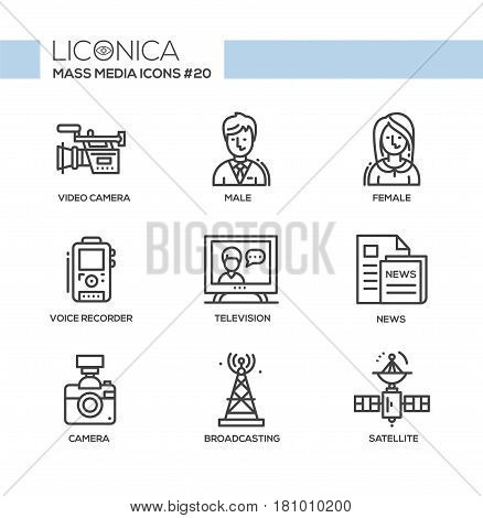 Mass Media - monochromatic vector modern single line icons set. Male, female reporter, voice, recorder, camcorder, camera, tv tower, newspaper, satellite, television.