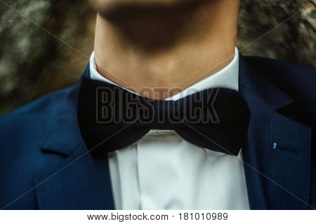 Stylish Elegant Happy Groom In Fashionable Suit With Classic Bowtie On Background Of Rocks In Mounta