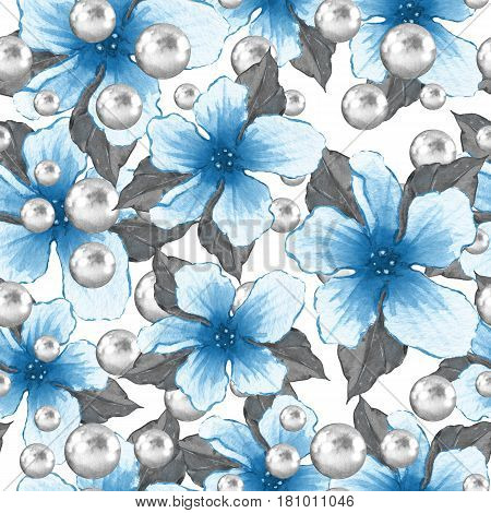 Watercolor floral seamless pattern. Flowers and pearls