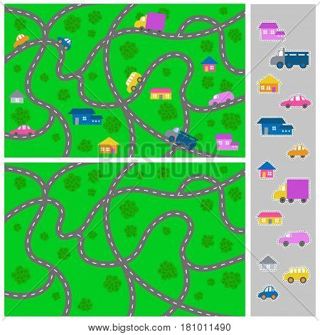 Kid town map game with stickers - vector city pattern for children and elements collection for creating a town.