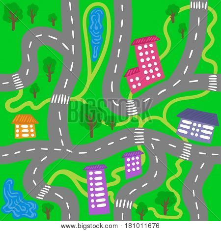 Vector seamless pattern. Cars in road, houses, trees, snow on a green background