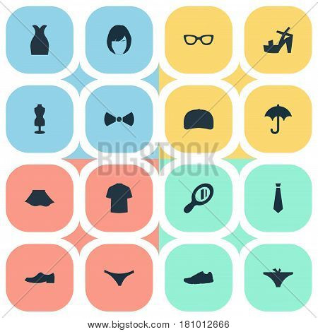 Vector Illustration Set Of Simple Wardrobe Icons. Elements Mannequin, Female Cloth, Brolly And Other Synonyms Suit, Mannequin And Protect.