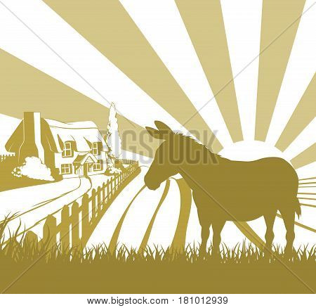 An illustration of a farm house thatched cottage in an idyllic landscape of rolling hills with a donkey in silhouette standing in the foreground