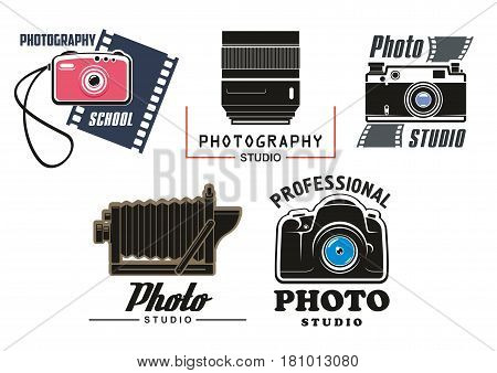 Photo studio vector icons set. Isolated symbols of digital and retro camera lens with flash and photographic film cartridge for professional photography school design