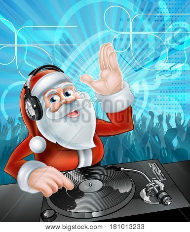 Cartoon Christmas Santa Claus DJ with headphones on at the record decks with party dancing crowd in the background